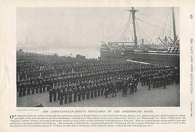 1897 Antique Military Print- Commander-In-Chief's Inspection,portsmouth Depot