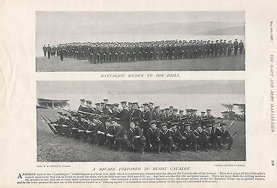 "1897 Antique Military Print-  ""cambridge"",drawn Up For Drill, Infantry Square"