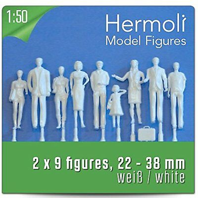18 Model Figures white / unpainted, scale 1:50 approx. 0-Scale