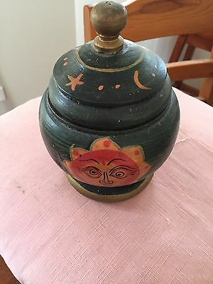 Vintage Hand painted Wooden Tea Caddy
