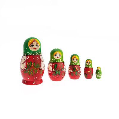 Woman with Green Hood, Russian Matryoshka Dolls set of 5 in Gift Pack