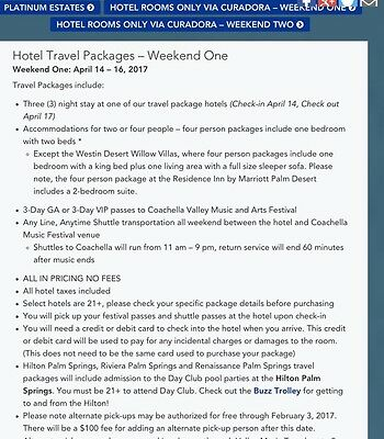 Coachella Hotel Package Tickets For 2 People