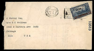 1938 Black Overprint San Jose Costa Rica First Day Cover Censored