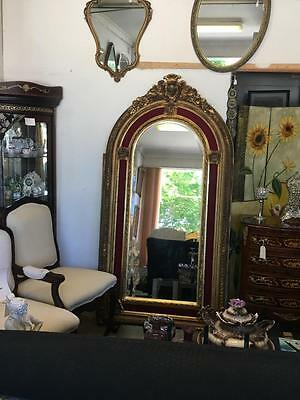 XL ANTIQUE FRENCH LOUIS GOLD FLOOR / MANTLE BEVELLED MIRROR..2 METRES ..NO 2of2