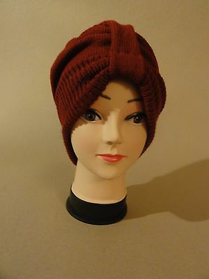 Vintage 1940s style turban knitted hat