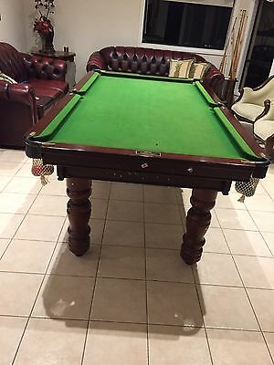7ft X 4ft MAHOGANY FRAME GREEN FELT BILLIARDS TABLE SLATE AND ACCESSORIES