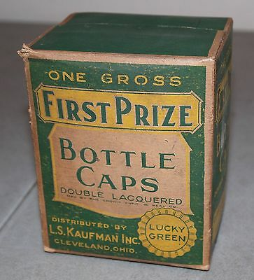 "New!! Sealed!! Vtg LUCKY GREEN ""First Prize"" BOTTLE CAPS One Gross (Advertising)"