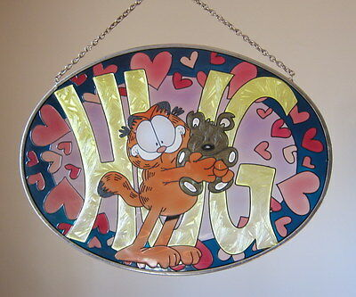 Rare GARFIELD Cat & Teddy Hug Heart STAINED GLASS Wall Plaque Frame & Chain