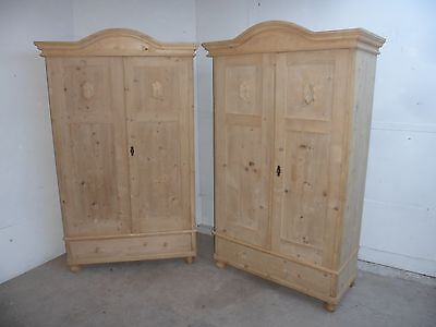 A Cracking Pair of 2 Door Arch Top Knockdown Wardrobes to Paint or Wax