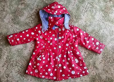 Girls HATLEY Waterproof Coat with hood. Size 4 Red Polka Dot Winter Autumn Rain