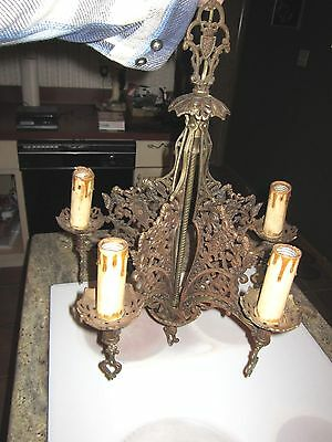 antique deco ceiling light fixture fine cast lions & shields ornate