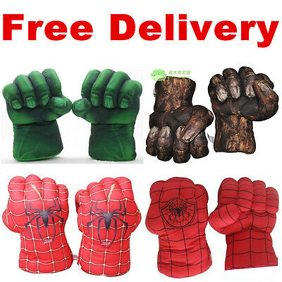 UK SELL Incredible Hulk Smash Hands Plush Punching Boxing fists Gloves Cosplay
