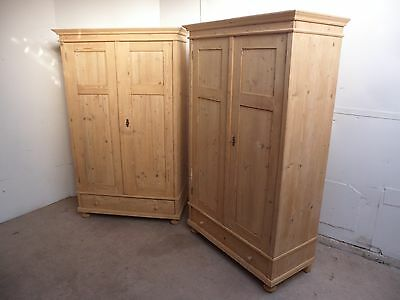 A Excellent Pair of Antique Pine 2Door Flat Top Knockdown Wardrobes to Paint/Wax