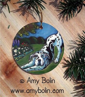 GREAT DANE DOG CERAMIC RND Christmas ORNAMENT by Amy Bolin HARLEQUIN GARDEN