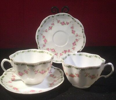 Pair Of Edwardian Shelley Tea Cups & Saucers - Green & Rose Pattern c1920