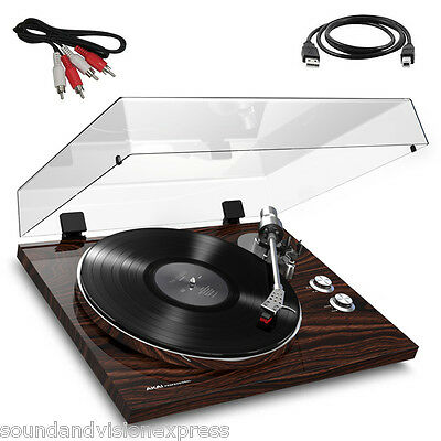 Akai BT500 HiFi Turntable Record Player + Bluetooth + USB Lead + Cart + Software