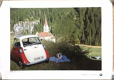 VERY RARE BMW ISETTA BUBBLE CAR SHOWROOM GARAGE POSTER. Bubblecar