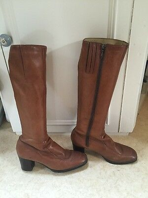 Vintage Bally Boots 1970s / 1980s? Tan Leather USA 8 C UK 5.5