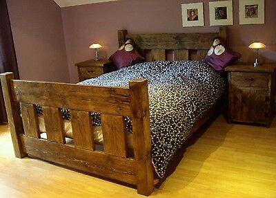 New Solid Wood Rustic Chunky Double Wooden Slat Bed