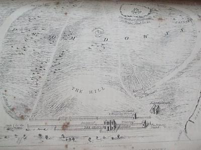 1841 Engraving Map Birds Eye View Of Epsom Downs