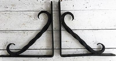 Hand forged Blacksmith's Wrought Iron w hook Shelf Brackets Heavy Duty SET 7.5""