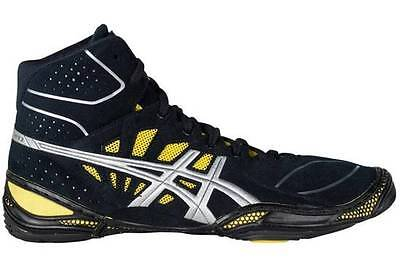 Nib Mens Asics Dan Gable Ultimate 3 Wrestling Shoes 8.5/40.5 Black/silver/yellow