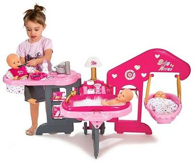 Baby Doll Nursery Centre For Kids Dolls Bathroom Feeding Station And Bed Pink