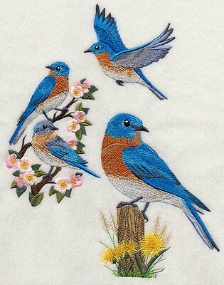 Embroidered Eastern bluebirds quilt block,sewing,bird fabric,cushion panel,