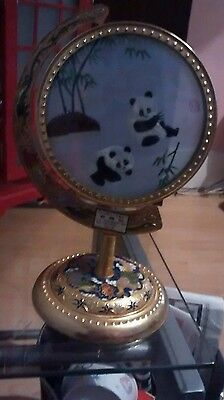 Vintage Panda Embroidery in glass two sided in on lovely stand