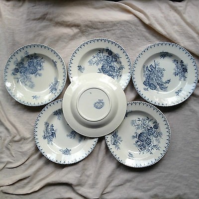 6 Assiettes Creuses Sarreguemines Decor Flore