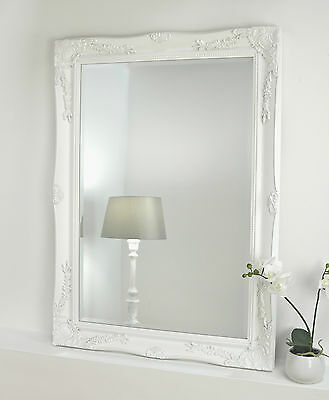 "Isabella White Shabby Chic Rectangle Antique Wall Mirror 42"" x 30"" V Large"
