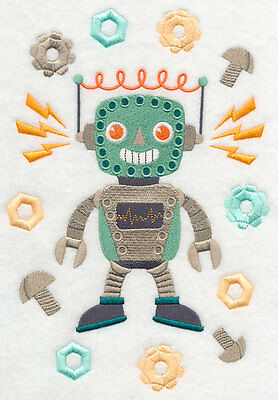 Embroidered Rupert retro robot quilt block, fabric,cushion panel,quilt,framing