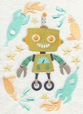 Embroidered Renee retro robot quilt block, fabric,cushion panel,quilt,art