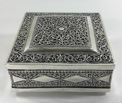 Antique Stunning Finely Hand Repoussed Sterling Silver Box - High Quality Work