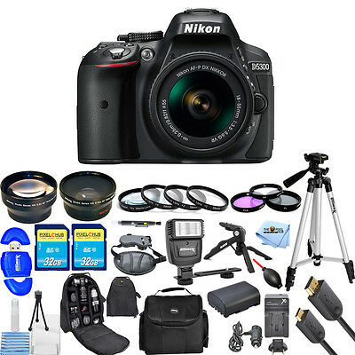 Nikon D5300 DSLR Camera with AF-P 18-55mm Lens (Black)!! MEGA BUNDLE BRAND NEW!!