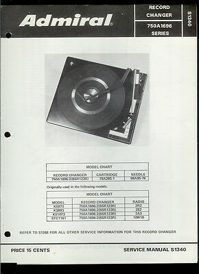 Rare Original Factory Admiral 750A1696-2 BSR 123R Turntable Phono Service Manual