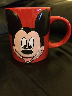 Rare Disney Mickey Mouse Red Raised Graphic Face, Jerry Leigh Cup/mug