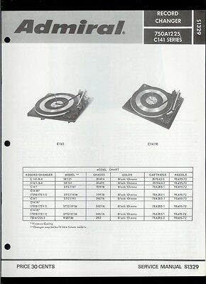 Rare Factory Admiral 750B1751-1 750A1225-5 C-141 Turntable Phono Service Manual