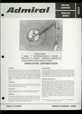 Rare Original Factory Admiral 750A1223-1 Turntable Phono Service Manual