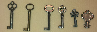 RARE Keys Skeleton ~ Antique ~ Lot of 6 Barrel ~ Collectible ~ WOW  ✔ these out