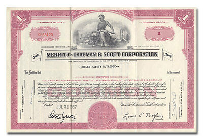 Merritt-Chapman & Scott Corporation Stock Certificate (Maritime Salvage)