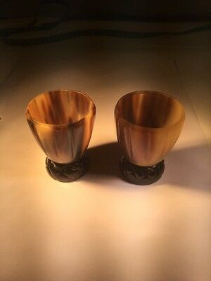 Scottish Horn Pair Of Thistle Cups