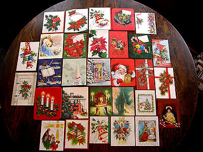 30 Different Vintage Christmas  Cards Unused UNSIGNED 1940s & 50sl With Envs