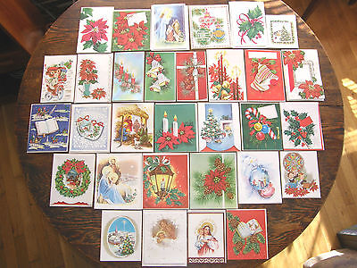 31 Different Vintage Christmas  Cards Unused UNSIGNED 1940s & 50sl With Envs