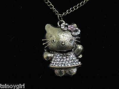 Hello Kitty Necklace & Pendant Brass Tone Bling Pink White Rhinestones NEW