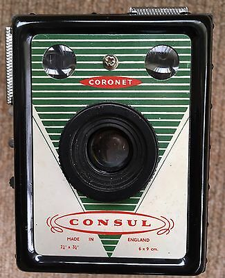 Used Vintage Coronet Consul Box Camera With Case In Very Good Condition