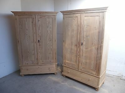 A Fabulous Pair of Antique Pine 2 Door Knockdown Wardrobes to Paint/Wax