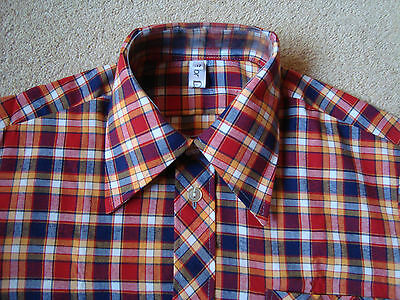 Vintage Late 1960's Check Skinhead Mod Shirt. Small. DEADSTOCK - Free UK Post