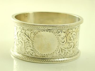 Antique Victorian pair oval sterling silver napkin serviette rings ornate 1899