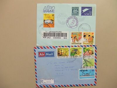 Two SINGAPORE registered covers:Aerogramme,four insect stamps